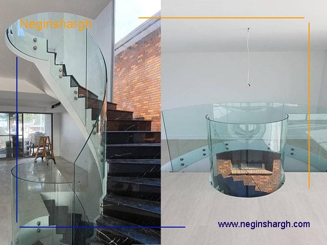 راه پله شیشه ای خم