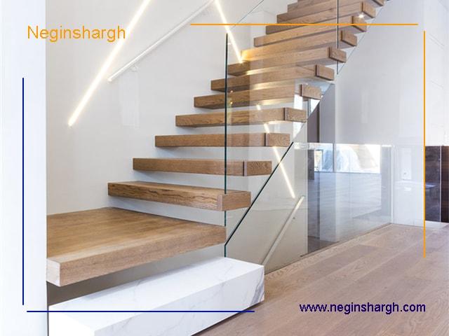 ترکیب چوب با شیشه در راه پله